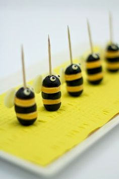 Cheese and Olives Bumblebees! on http://www.whatyagotmiami.com/#!easy-seo-blog/c7er/cheese-and-olives-bumblebees-