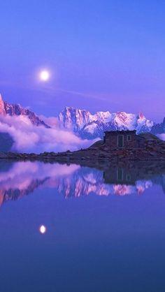 moon, purple, sea, Nature