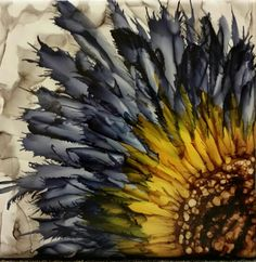 Flower on bigger tile. Alcohol ink. Denim and honey comb with slate blended back ground  My favorite flowers to do, by tina