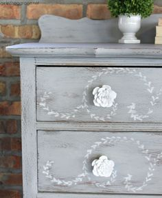 DIY distressed stenciled feminine highboy makeover with Chalk Paint and Miss Mustard Seed stencil - Girl in the Garage