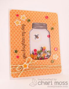 Lawn Fawn - Summertime Charm stamps and dies, Pink Lemonade 6x6 paper _ Lawn Clippings Video {4.26.13} mason jar shaker card