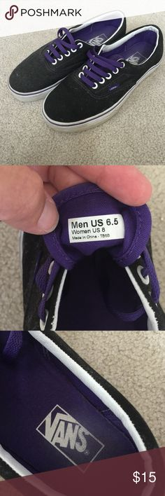 Vans tennis shoes Black and purple skateboard shoes.  Size 6.5 men's, 8 women's.  Great condition.  Please make an offer, I look at all of them. Vans Shoes Sneakers
