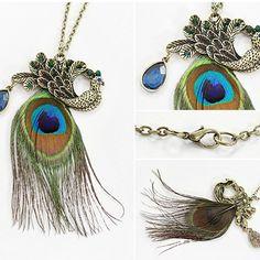 Vintage Peafowl Feather Necklace, #Wendybox