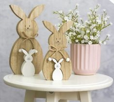 Wooden Rabbits Cutout & Pullout Decoration Easter H23cm x W11cm x D2.5cm (1 Set)