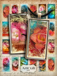 DIVINE GARDEN - 1x2 inch images Digital Collage Sheet Printable Download for Domino Pendants, Magnets, Paper Craft, bezel tray settings