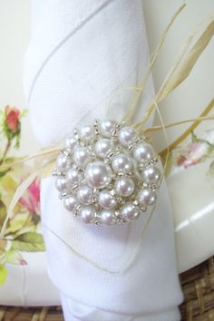 Shabby Chic napkin rings - lg pearl buttons tied with raffia