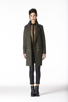 Oasis military style coat with gold buttons, which is feminine and the khaki colour is the new hue on softest silk seperates and backed to leather tight  Bella Marinda FMM1B1