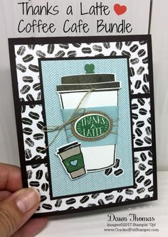 Stampin' Up! Coffee Cafe-Thanks a Latte card featuring Coffee Cafe stamp set, Coffee Cups Framelits and Coffee Break Designer Series Paper. For details and instructions click through to my blog. #crackedpotstamper #stampinup #dsc243 #coffeecafebundle #handstamped via @Dawn Thomas (CrackedPotStamper.com)