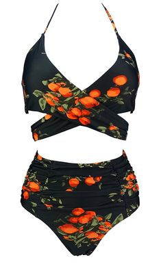 1b6f1bb5d7 Tangerine Ruching Bathing Swimsuit - Tangerine Black - C6189L2NLA9