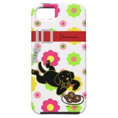Cute and funny looking Black Labrador Cartoon iPhone 5 Case. :)  You can personalize this.