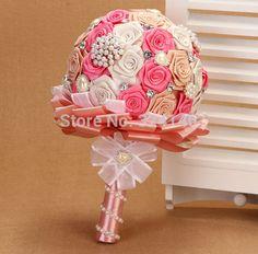 Великолепная симпатичные розовые розы свадебный букет прекрасная жемчужина невесты букет невесты мяч - цветок(China (Mainland))