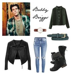 """""""Bobby Briggs Inspiration"""" by angela-reydet ❤ liked on Polyvore featuring Daniel Wellington, H&M, WithChic, Linea Pelle, Topshop, grunge, twinpeaks and BobbyBriggs"""