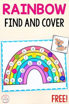 This free printable rainbow find and cover the letters activity is a fun way for kids to learn letter sounds and letter identification this spring. A fun learning activity for literacy centers. Rainbow Activities, Educational Activities For Kids, Preschool Themes, Letter Games, Alphabet Activities, Kindergarten Activities, Letter Identification Activities, Teaching The Alphabet, Learning Letters