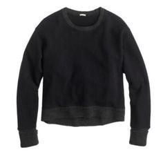 "JCREW SWEATER-TIPPED SWEATSHIRT NWT, Black, Cotton. Hand wash.Slightly loose fit. Body length: 20 3/4"". True to size J. Crew Tops Sweatshirts & Hoodies"