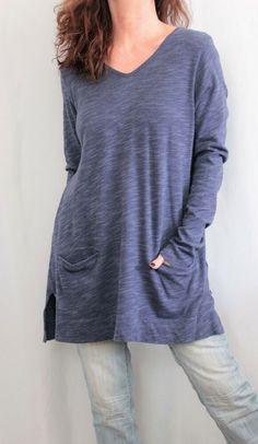8690009f595 J Jill 100% Cotton L Sleeve Scoop Neck Shirred Back Chambray Tunic Blue Sz M