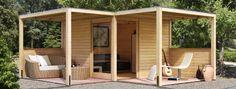 Karibu Gartenhaus Cubus Front 1 Flachdach 28 mm System- natur