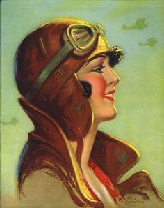 1930's Aviator Beauty - Counted Cross Stitch Pattern