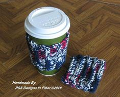 Cup Cozy Set of 2 in Americana Red White N Blue - Handmade Reusable Cup Cozies - Red White and Blue with Navy Blue Cotton Yarns - Stretches! #reusablecoffeecups