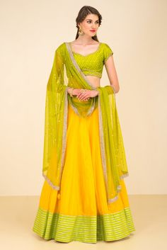 DIVYA REDDY yellow and green lehenga set