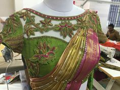 Ideas For Embroidery Blouse Designs Latest Wedding Saree Blouse Designs, Saree Blouse Neck Designs, Fancy Blouse Designs, Blouse Designs Catalogue, Stylish Blouse Design, Designer Blouse Patterns, Lesage, Work Blouse, Sarees