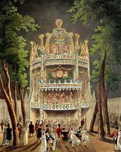 The Cascade at Vauxhall Gardens, via Rachel Knowles at Regency History. Vauxhall Gardens from The Microcosm of London Jane Austen, Georgette Heyer, London Museums, Regency Era, Old London, London Art, Historical Romance, Historical Fiction, Heritage Image