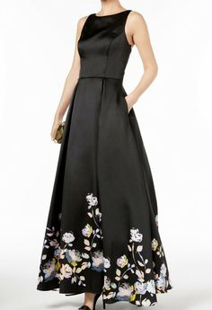 f2939a43 Betsy & Adam NEW Black Womens Size 8 Floral-Print Pleated Gown Dress  $369