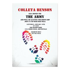 Military retirement party personalized invitation pinterest retirement party invitations shoe print invitation stopboris Images