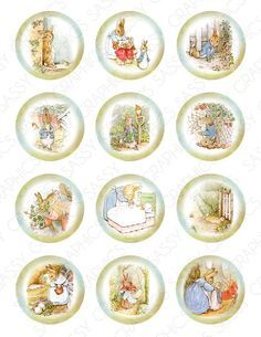 mini printable Easter - Peter Rabbit (Beatrix Potter) intended as cupcake toppers could be mini dollhouse pictures - 3 sets Beatrix Potter, Peter Rabbit Party, Paper Toy, Bottle Cap Crafts, Bottle Caps, Custom Cupcakes, Bottle Cap Images, Candy Bar Wrappers, Cupcake Toppers