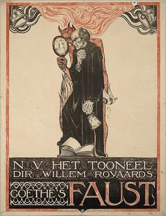 """Goethe's Faust"" poster by Richard Roland Holst, Art Nouveau Poster, Poster Art, Kunst Poster, Poster Prints, Alphonse Mucha, Art Vintage, Vintage Posters, Illustrations, The Journey"