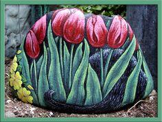 Black Cat in Tulips - Back
