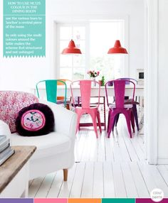 How to use multiple colours in a dining room (image by Boligpluss.no)