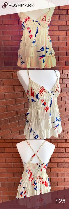 Anthrpologie (We ❤️ Vera) Silk Ruffled Tank Ruffled silk tank from Anthropologie (We ❤ Vera brand) in excellent used condition, only worn once. Straps loop in back, so cute and fun! Anthropologie Tops Tank Tops