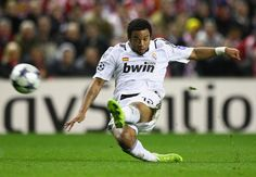 A footballer will do anything to get that goal in, even on the way down. Marcelo Vieira - Real Madrid