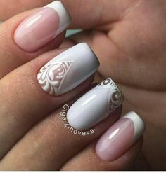 Nail designs are a way to show off our character and to be original. When you see someone with exciting nails, your eyes are instantly drawn to them. Bright Summer Nail Designs Keep scrolling for a season's worth of summer nail art ideas. White Nail Polish, White Nails, Polish Nails, Bridal Nails, Wedding Nails, Nail Polish Designs, Nail Art Designs, Lace Nail Design, Manicure E Pedicure