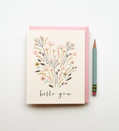 Hello You illustrated drawing birthday card pastels floral bouquet boho tribal southwestern chic simple calligraphy