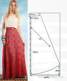 Выкройка длинной юбки
