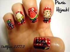 picnic nails. the ants are carrying off the food! this is cute beyond words.