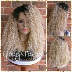 Ready to Ship Kinky Curly Wig Curly Full Wig Ombre Blonde Wig... ($69) ❤ liked on Polyvore featuring bath & beauty, grey, hair care and wigs