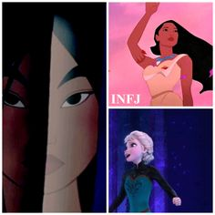 """Pocahontas, Elsa and Mulan are INFJs. Intuitive and caring, they are constantly trying to help others when they need help. INFJ will stop at nothing to care for you if you need emotional, or practical support."""