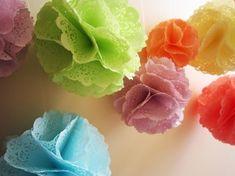 doiley poms...cute diy kits, craft, pom poms, doili pom, girl parties, paper doilies, color, flower, diy wedding