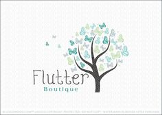 Company logo for sale: Beautiful butterflies creates the top the this tree logo design.