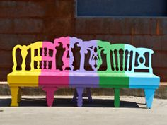 lollipop bench by Andrey Budko. Furniture DIY home decor design Remixing furniture design, way cool.