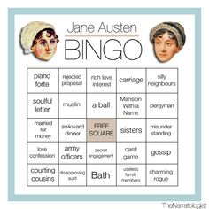 Who wants to play Jane Austen bingo with us?