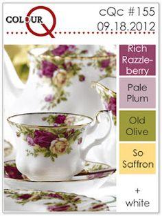 ColourQ 155 Rich Razzleberry, Pale Plum, Old Olive, So Saffron Scheme Color, Colour Pallette, Colour Schemes, Color Combinations, Color Style, Design Seeds, Colour Board, Coordinating Colors, World Of Color