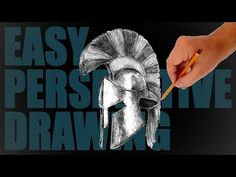 How to draw a helmet (ancient greek) - Easy Perspective Drawing 8 - YouTube