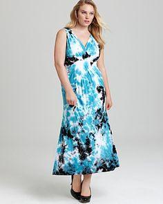 Karen Kane Plus Size Tie Dye Maxi Dress
