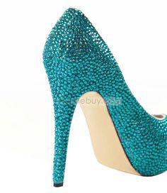 Glitter Blue Sheepskin Upper Stiletto Heel Closed-toe Wedding Prom Shoes