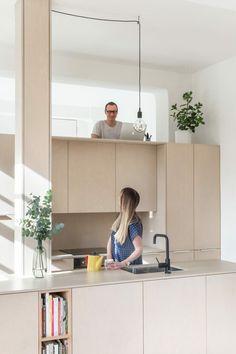 SUPRBLK turns biscuit baking room into light-filled London apartment London Apartment, Apartment Interior, Apartment Design, Interior Design Living Room Warm, Kitchen Interior, Kitchen Design, Loft Style Apartments, Small Apartments, Compact Living