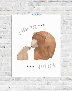 sweet wall art for woodland themed nursery - mama and baby bear