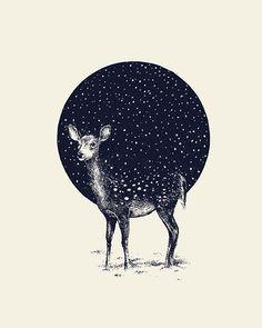 Snow Flake / Daniel Teixeira - doe - baby deer - circle - pattern - navy - vanilla - off white - standing - stand - illustration - draw - paint - illustrate - create - inspiration - feet - hooves - ears - bambi - spots - white - negative space Art And Illustration, Creative Illustration, Art Design, Design Poster, Picasso, Art Inspo, Amazing Art, Illustrators, Cool Art
